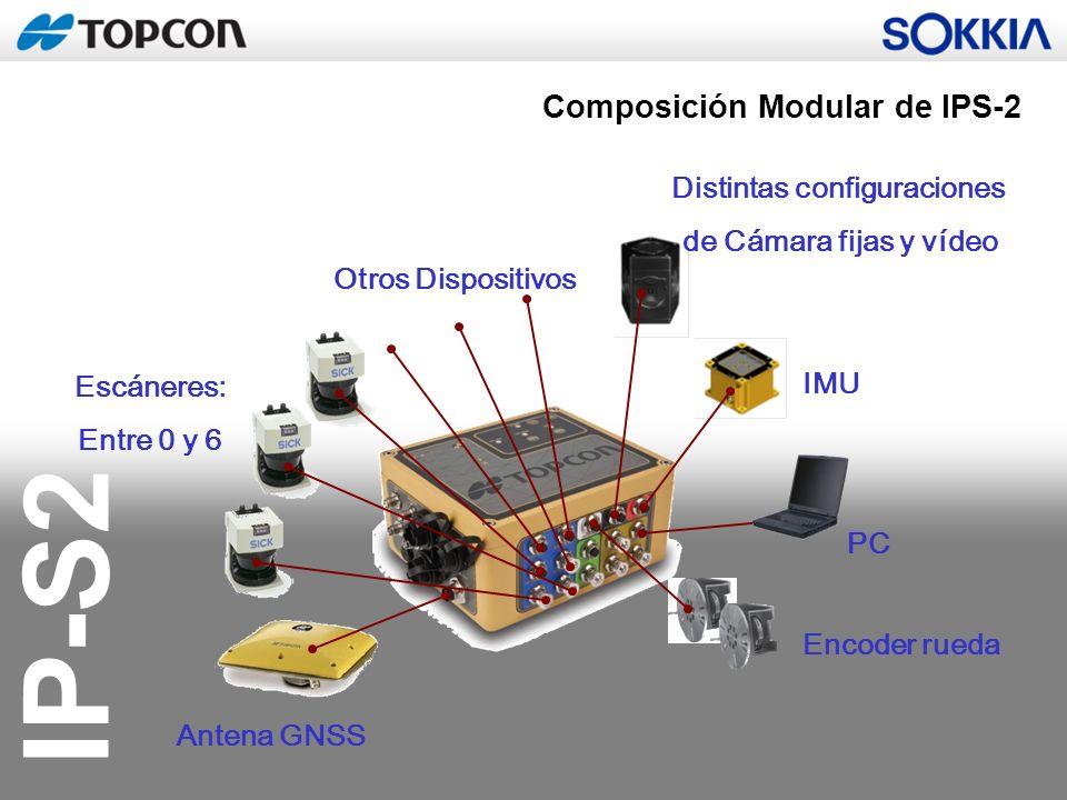 IP-S2 Antena GNSS PC Encoder rueda Distintas configuraciones de Cámara fijas y vídeo IMU Escáneres: Entre 0 y 6 Otros Dispositivos Composición Modular
