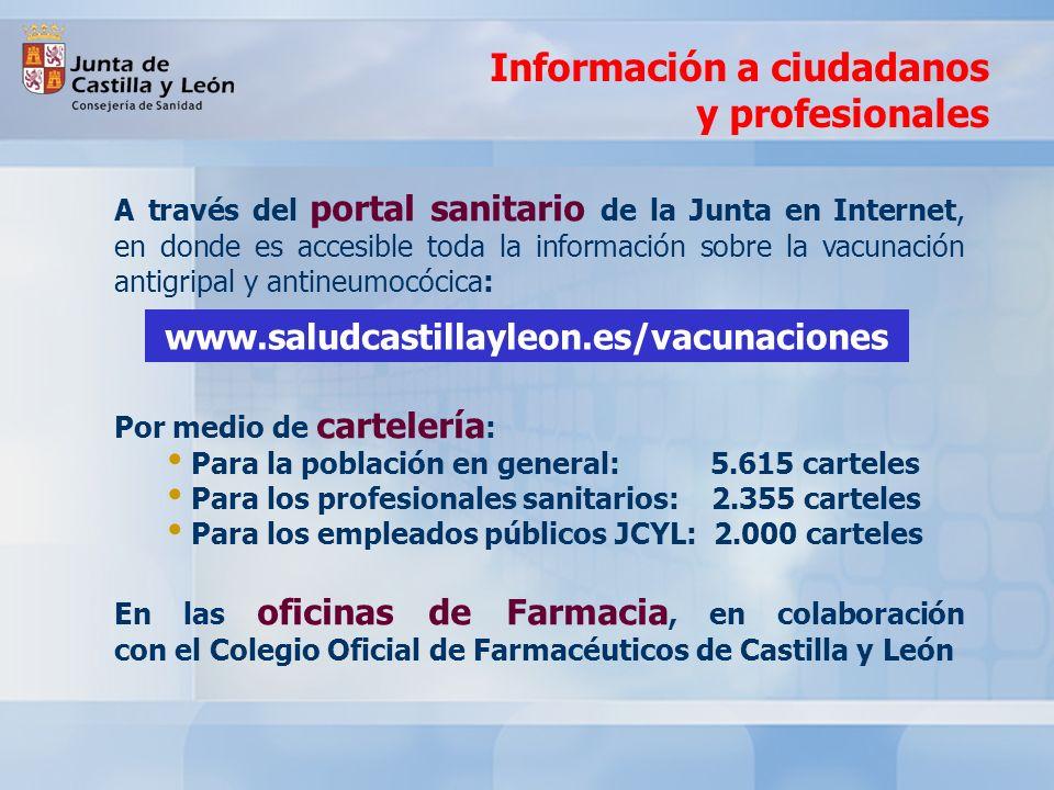 Información a ciudadanos y profesionales A través del portal sanitario de la Junta en Internet, en donde es accesible toda la información sobre la vac