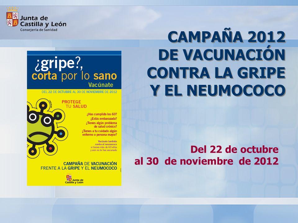 CAMPAÑA 2012 DE VACUNACIÓN CONTRA LA GRIPE Y EL NEUMOCOCO Del 22 de octubre al 30 de noviembre de 2012