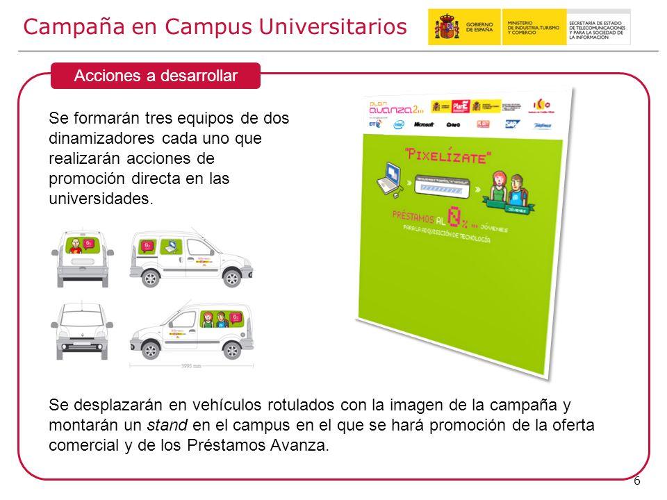6 Campaña en Campus Universitarios Acciones a desarrollar Se formarán tres equipos de dos dinamizadores cada uno que realizarán acciones de promoción