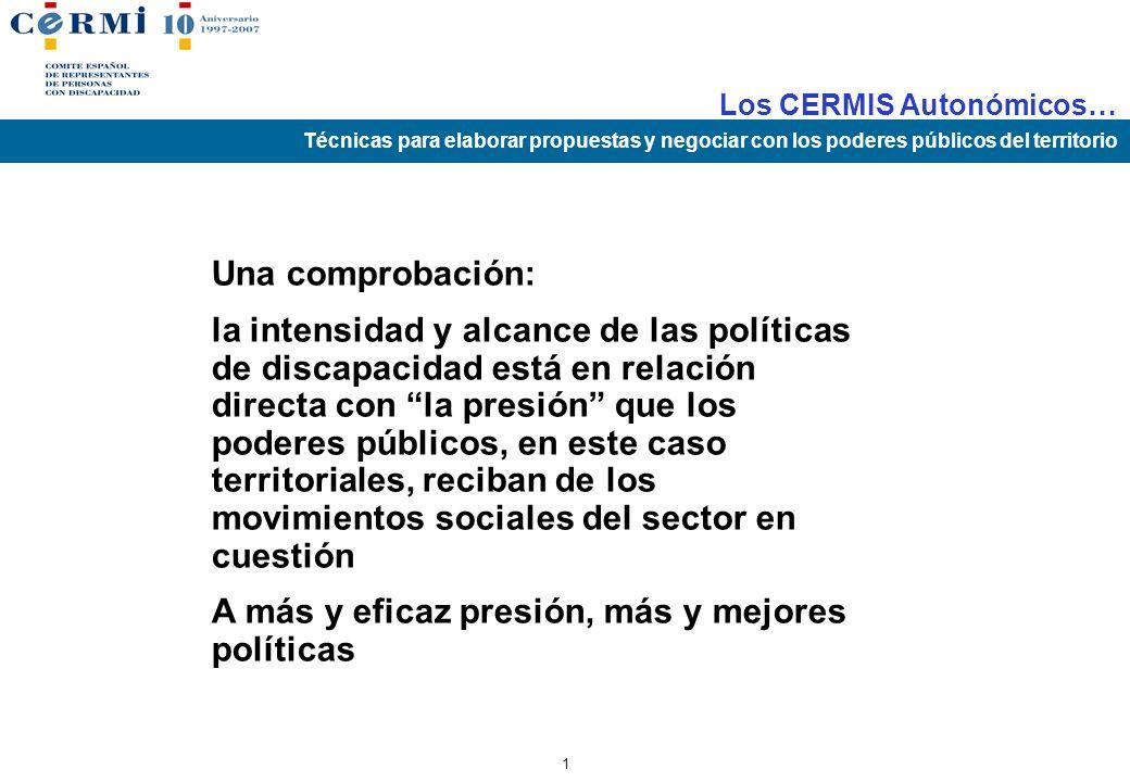 Los CERMIS Autonómicos… Técnicas para elaborar propuestas y negociar con los poderes públicos del territorio 0 LOS CERMIS AUTONÓMICOS COMO MOTORES DE