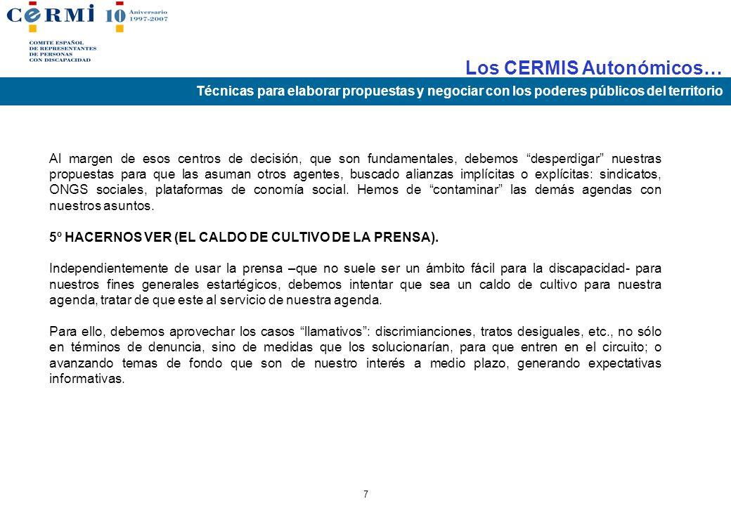 Los CERMIS Autonómicos… Técnicas para elaborar propuestas y negociar con los poderes públicos del territorio 6 4º SABER COLOCAR LAS PROPUESTAS. Tan im