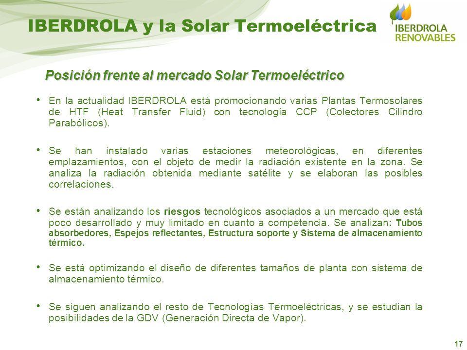 17 IBERDROLA y la Solar Termoeléctrica En la actualidad IBERDROLA está promocionando varias Plantas Termosolares de HTF (Heat Transfer Fluid) con tecn
