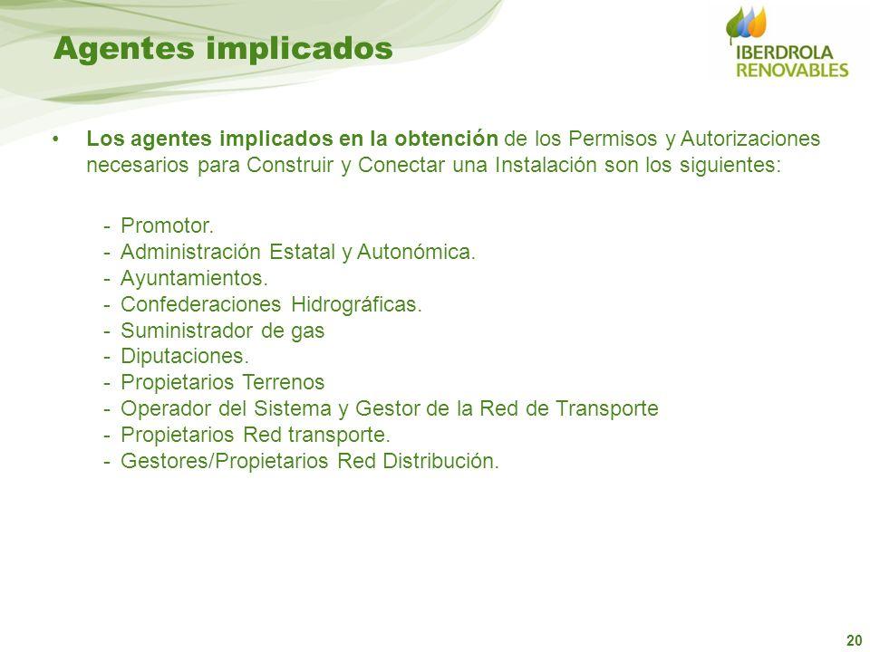 20 Los agentes implicados en la obtención de los Permisos y Autorizaciones necesarios para Construir y Conectar una Instalación son los siguientes: -P