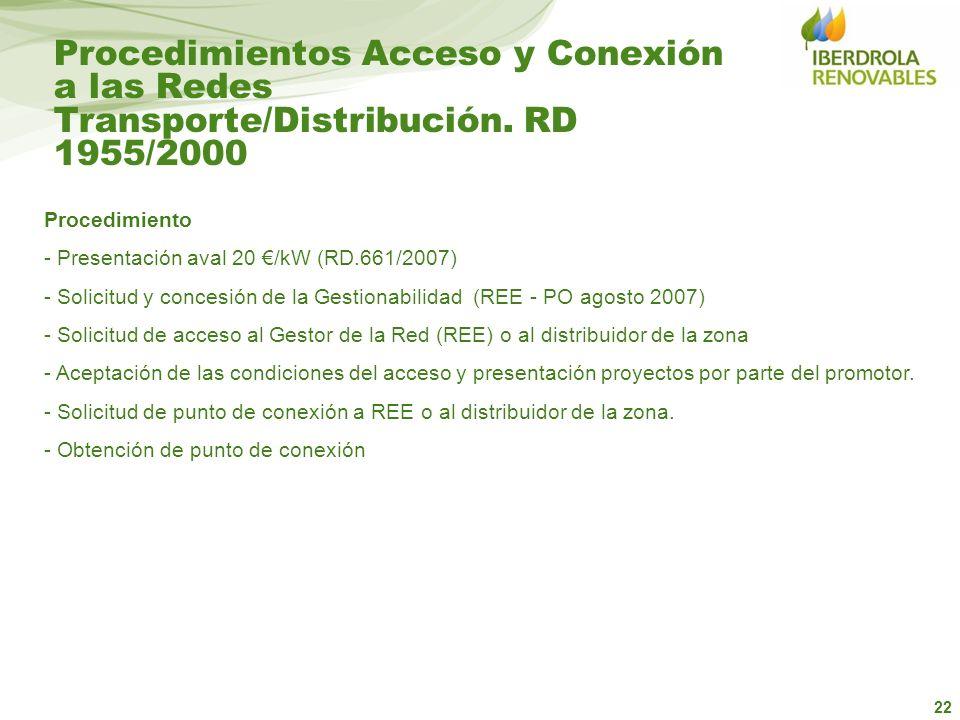 22 Procedimientos Acceso y Conexión a las Redes Transporte/Distribución. RD 1955/2000 Procedimiento - Presentación aval 20 /kW (RD.661/2007) - Solicit