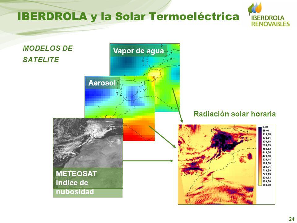 24 METEOSAT Indice de nubosidad Aerosol Vapor de agua Radiación solar horaria MODELOS DE SATELITE IBERDROLA y la Solar Termoeléctrica