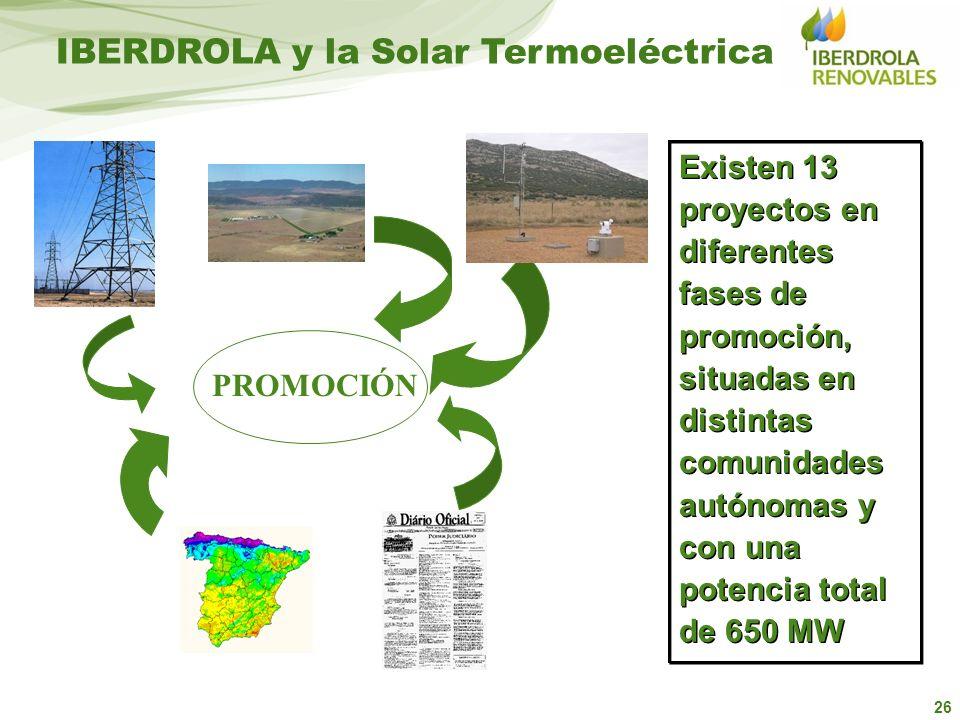 26 PROMOCIÓN IBERDROLA y la Solar Termoeléctrica Existen 13 proyectos en diferentes fases de promoción, situadas en distintas comunidades autónomas y