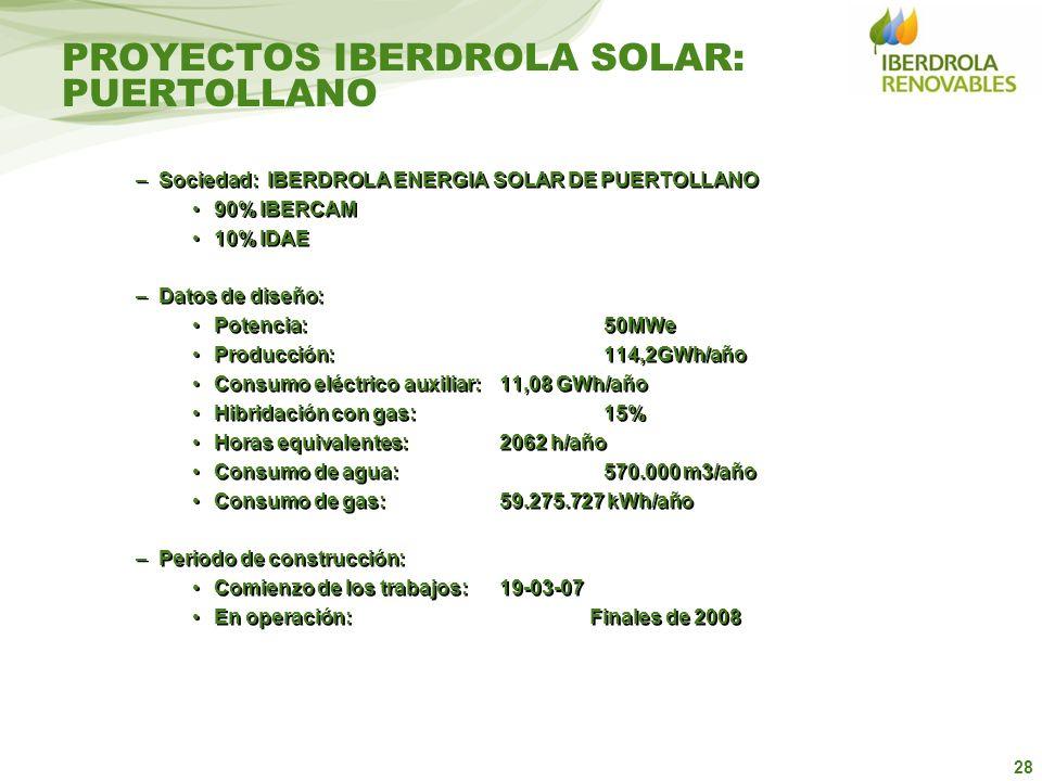 28 –Sociedad: IBERDROLA ENERGIA SOLAR DE PUERTOLLANO 90% IBERCAM 10% IDAE –Datos de diseño: Potencia: 50MWe Producción:114,2GWh/año Consumo eléctrico