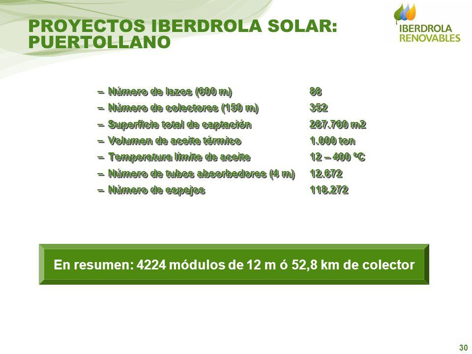 30 PROYECTOS IBERDROLA SOLAR: PUERTOLLANO –Número de lazos (600 m)88 –Número de colectores (150 m)352 –Superficie total de captación 287.760 m2 –Volum