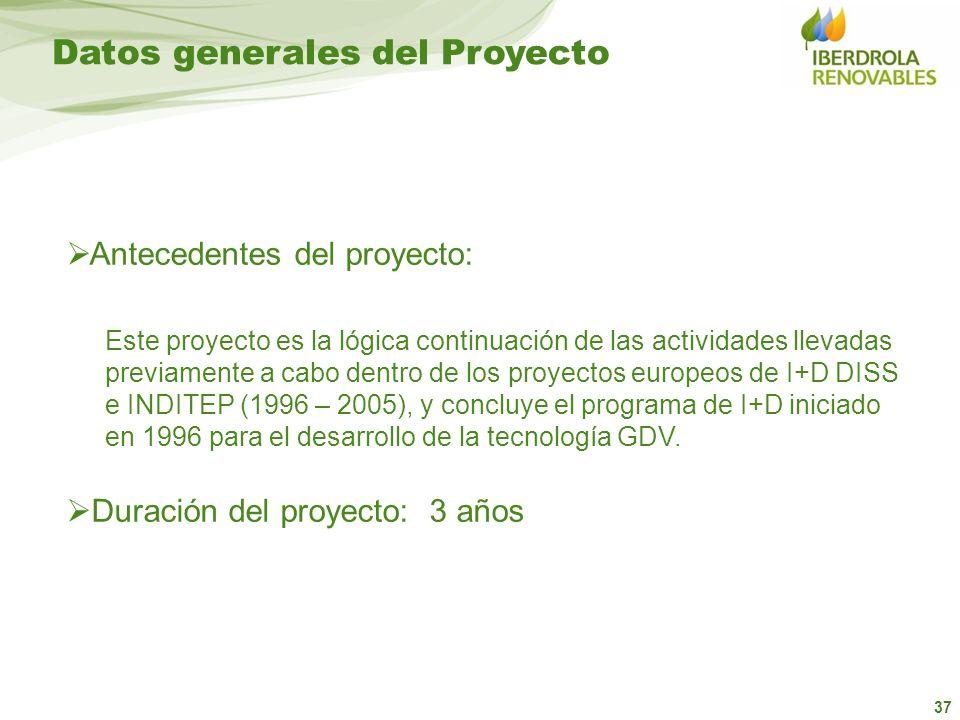 37 Datos generales del Proyecto Duración del proyecto: 3 años Antecedentes del proyecto: Este proyecto es la lógica continuación de las actividades ll