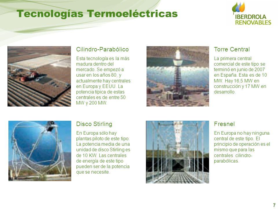 7 Torre Central La primera central comercial de este tipo se terminó en junio de 2007 en España. Esta es de 10 MW. Hay 16,5 MW en construcción y 17 MW