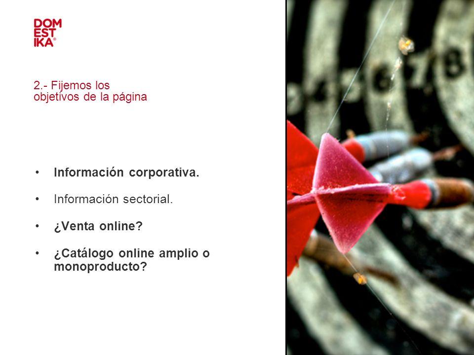 2.- Fijemos los objetivos de la página Información corporativa. Información sectorial. ¿Venta online? ¿Catálogo online amplio o monoproducto?