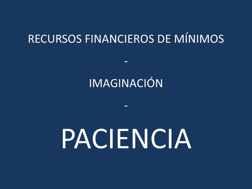 RECURSOS FINANCIEROS DE MÍNIMOS - IMAGINACIÓN - PACIENCIA