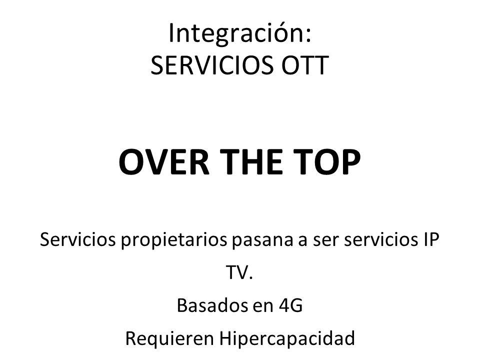 Integración: SERVICIOS OTT OVER THE TOP Servicios propietarios pasana a ser servicios IP TV. Basados en 4G Requieren Hipercapacidad