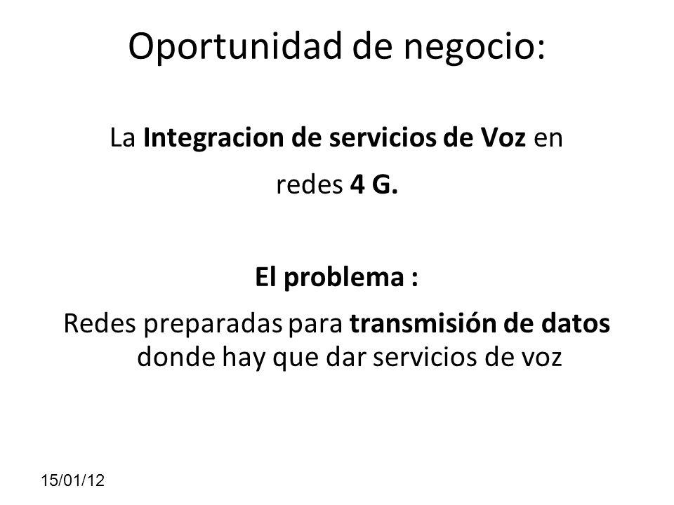 Oportunidad de negocio: La Integracion de servicios de Voz en redes 4 G. El problema : Redes preparadas para transmisión de datos donde hay que dar se