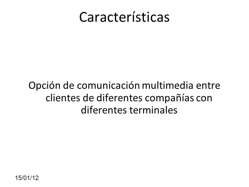 Características Opción de comunicación multimedia entre clientes de diferentes compañías con diferentes terminales 15/01/12