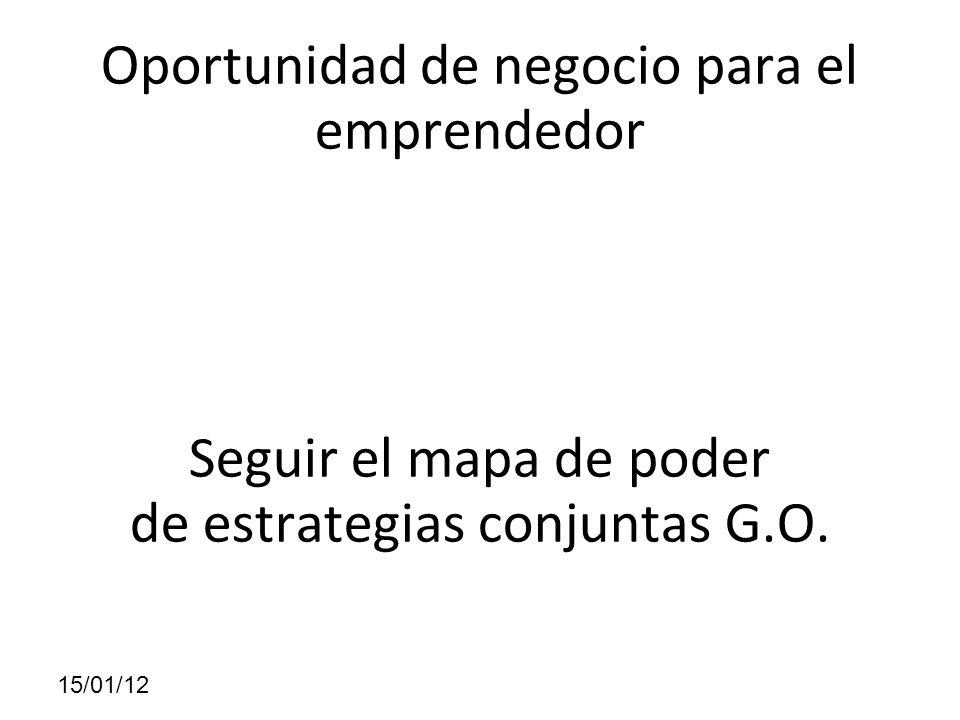 Oportunidad de negocio para el emprendedor Seguir el mapa de poder de estrategias conjuntas G.O. 15/01/12