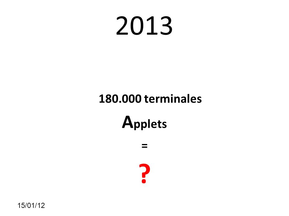 15/01/12 2013 180.000 terminales A pplets =