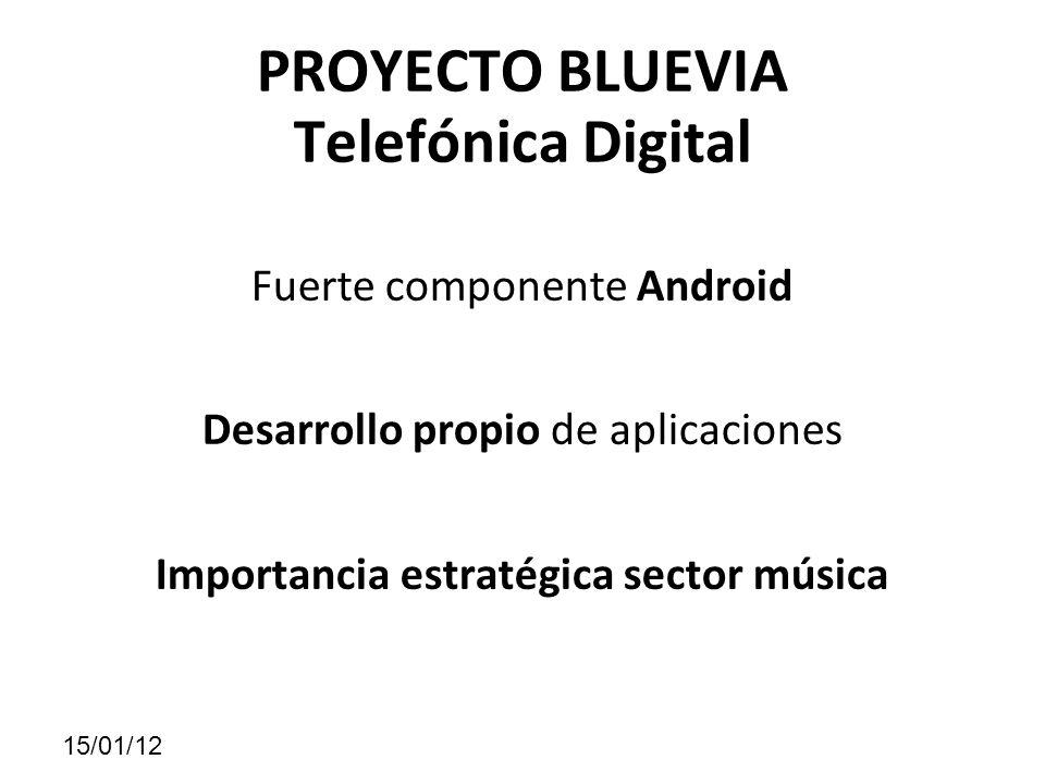 PROYECTO BLUEVIA Telefónica Digital Fuerte componente Android Desarrollo propio de aplicaciones Importancia estratégica sector música 15/01/12