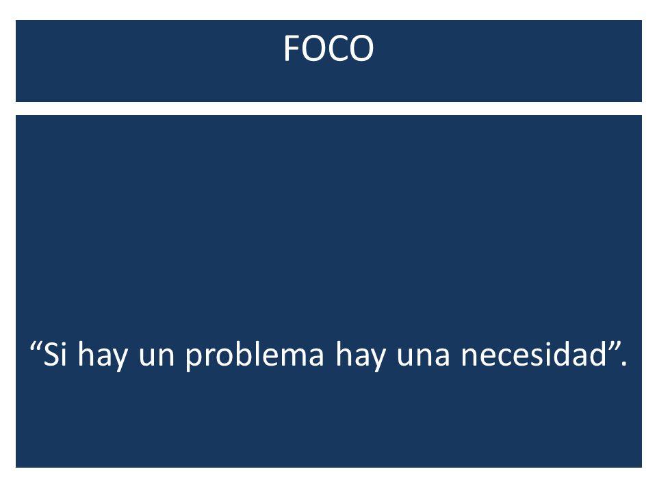 FOCO Si hay un problema hay una necesidad.