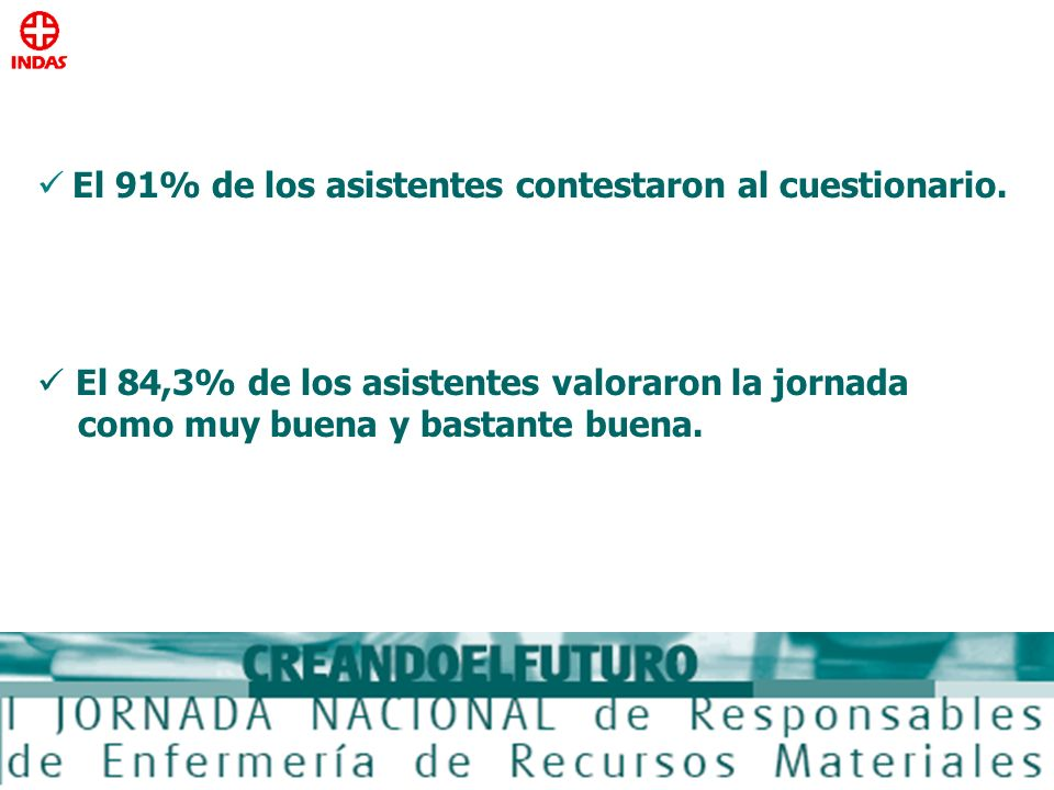 El 91% de los asistentes contestaron al cuestionario. El 84,3% de los asistentes valoraron la jornada como muy buena y bastante buena.