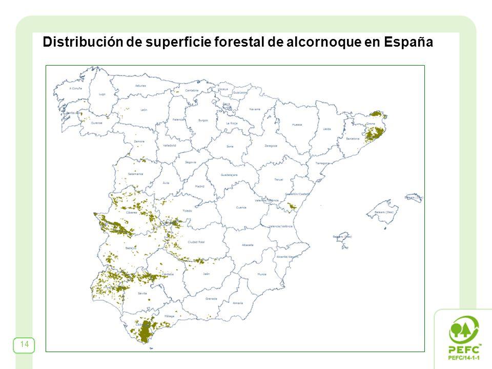 14 Distribución de superficie forestal de alcornoque en España