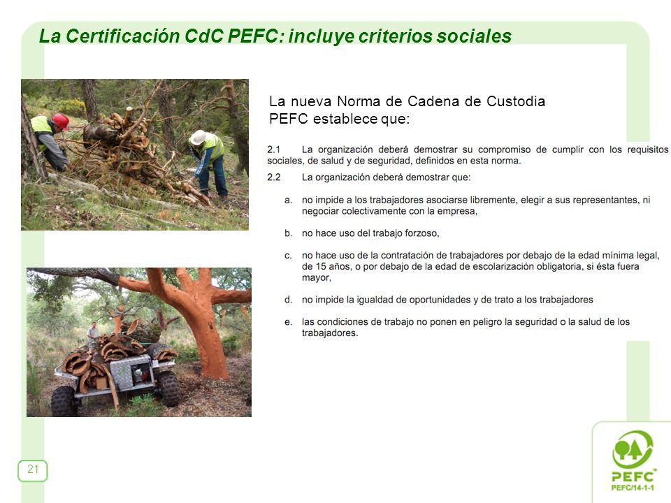 21 La Certificación CdC PEFC: incluye criterios sociales La nueva Norma de Cadena de Custodia PEFC establece que: