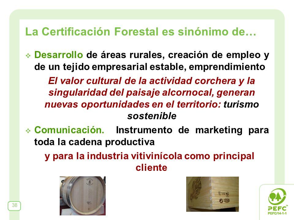 La Certificación Forestal es sinónimo de… Desarrollo de áreas rurales, creación de empleo y de un tejido empresarial estable, emprendimiento El valor cultural de la actividad corchera y la singularidad del paisaje alcornocal, generan nuevas oportunidades en el territorio: turismo sostenible Comunicación.