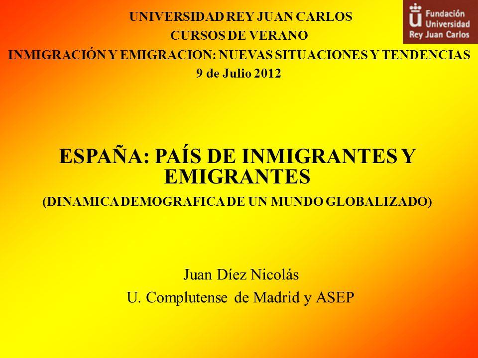 Juan Díez Nicolás U. Complutense de Madrid y ASEP ESPAÑA: PAÍS DE INMIGRANTES Y EMIGRANTES (DINAMICA DEMOGRAFICA DE UN MUNDO GLOBALIZADO) UNIVERSIDAD