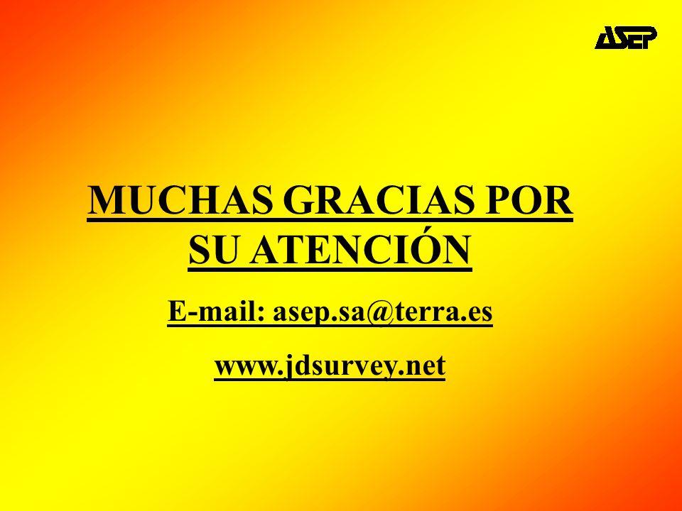MUCHAS GRACIAS POR SU ATENCIÓN E-mail: asep.sa@terra.es www.jdsurvey.net