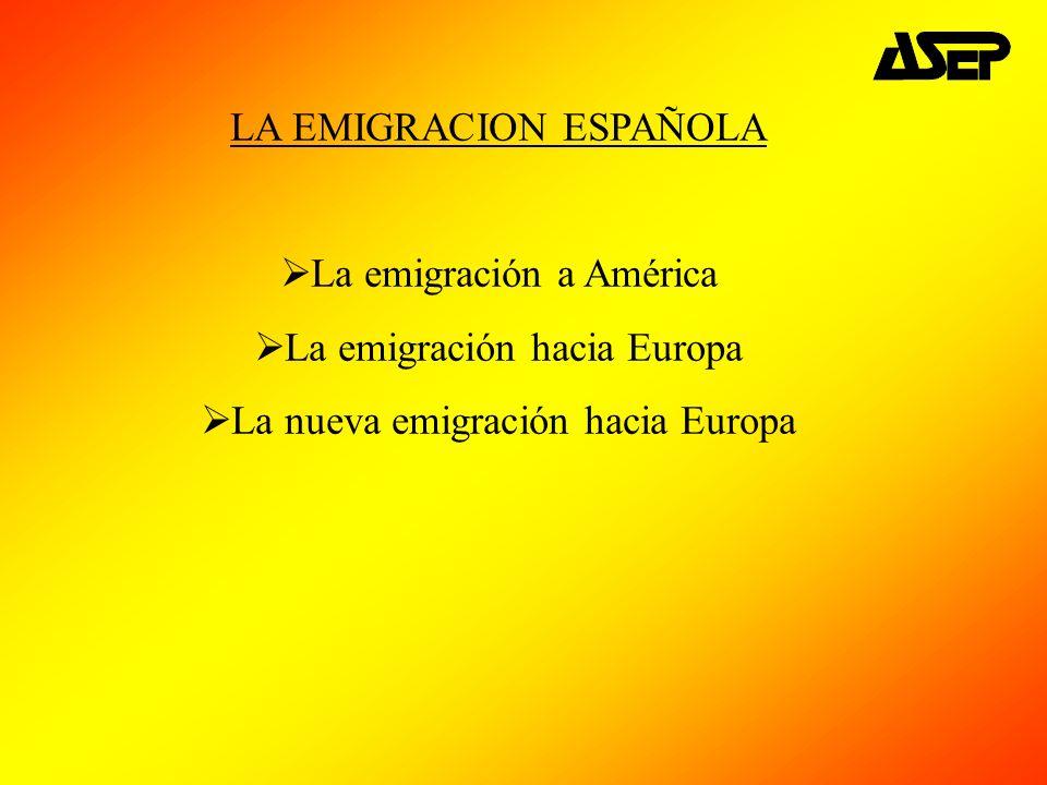 LA EMIGRACION ESPAÑOLA La emigración a América La emigración hacia Europa La nueva emigración hacia Europa