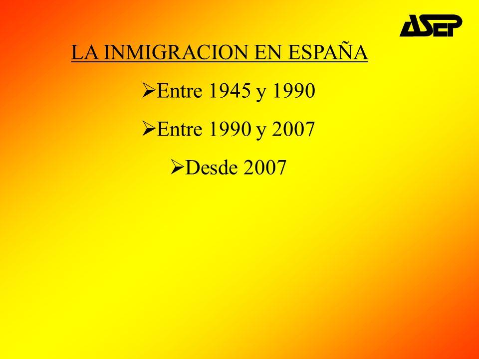 LA INMIGRACION EN ESPAÑA Entre 1945 y 1990 Entre 1990 y 2007 Desde 2007