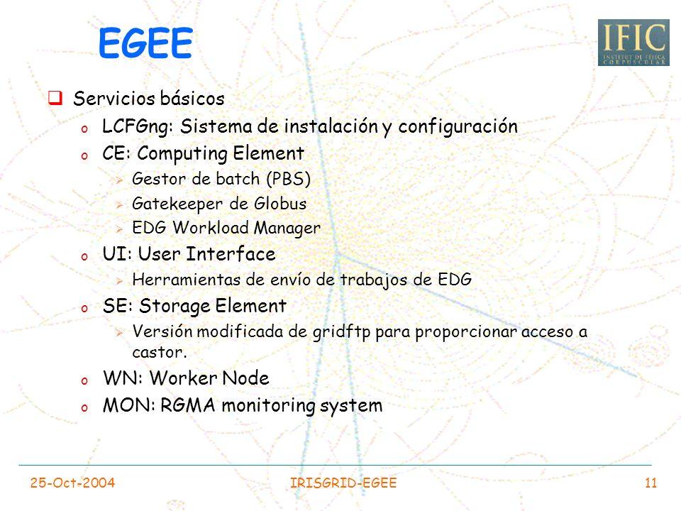 25-Oct-2004IRISGRID-EGEE10 Red o 22/23 PCs con FastEthernet de cada rack se conectan en conmutadores con enlace de subida de gigabit. o Los servidores