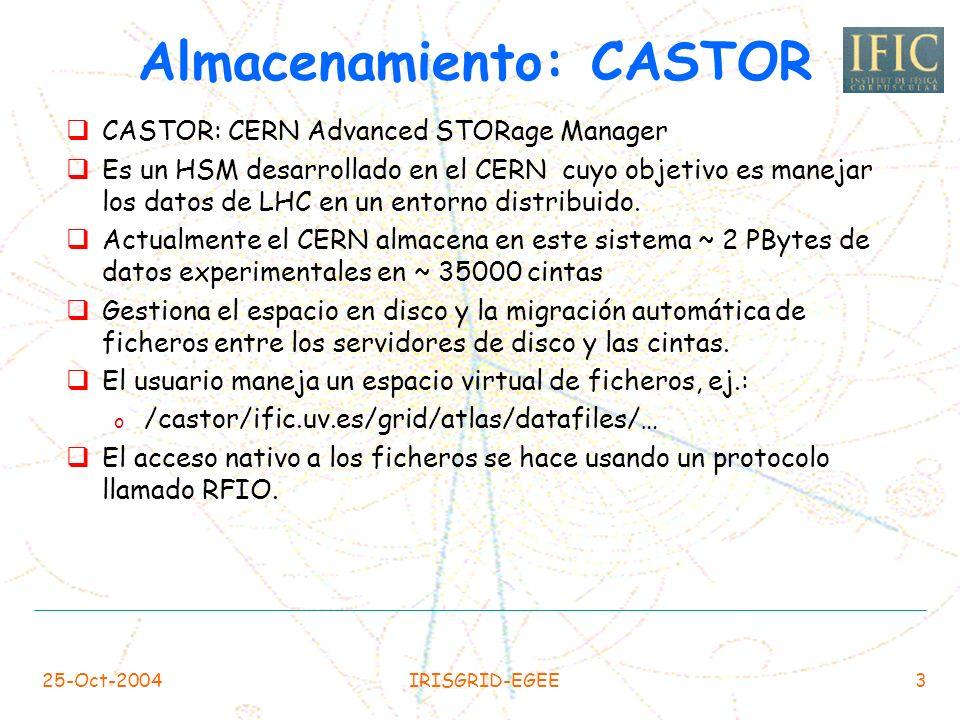 25-Oct-2004IRISGRID-EGEE3 Almacenamiento: CASTOR CASTOR: CERN Advanced STORage Manager Es un HSM desarrollado en el CERN cuyo objetivo es manejar los datos de LHC en un entorno distribuido.