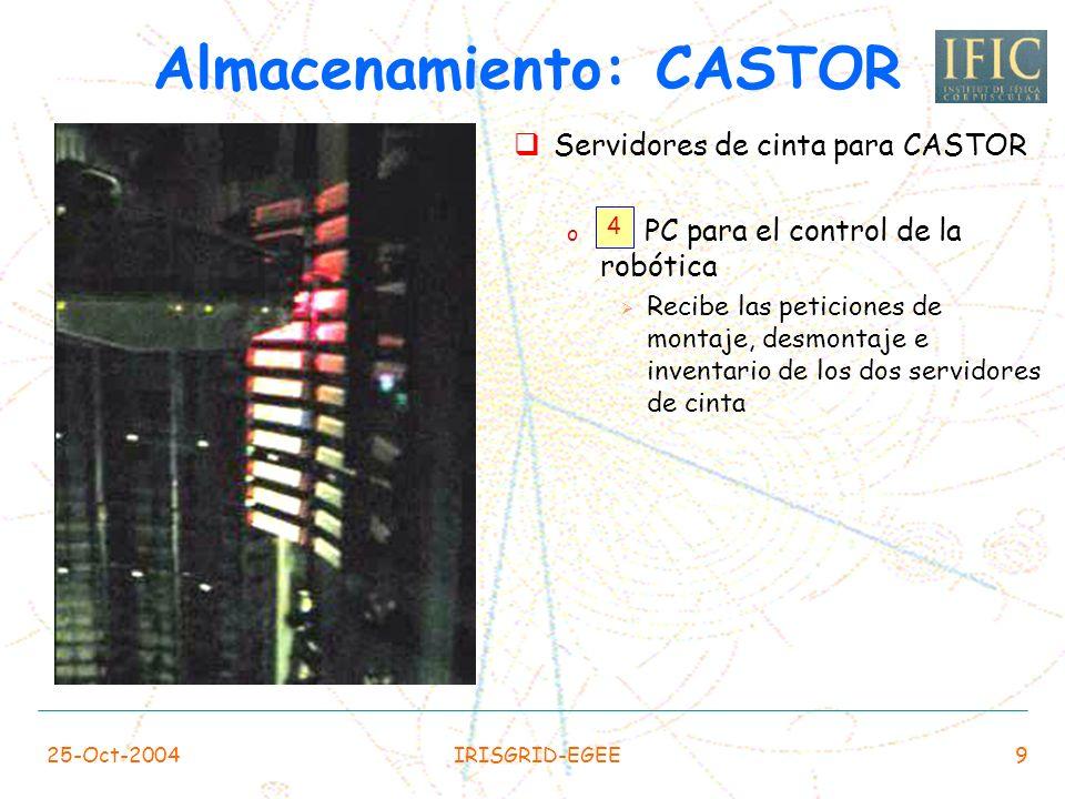 25-Oct-2004IRISGRID-EGEE9 Servidores de cinta para CASTOR o PC para el control de la robótica Recibe las peticiones de montaje, desmontaje e inventario de los dos servidores de cinta Almacenamiento: CASTOR 4