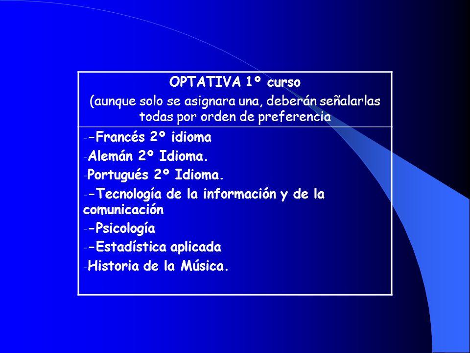 OPTATIVA 1º curso (aunque solo se asignara una, deberán señalarlas todas por orden de preferencia - -Francés 2º idioma - Alemán 2º Idioma. - Portugués
