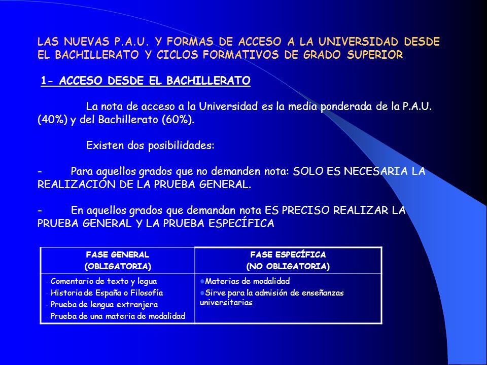 LAS NUEVAS P.A.U. Y FORMAS DE ACCESO A LA UNIVERSIDAD DESDE EL BACHILLERATO Y CICLOS FORMATIVOS DE GRADO SUPERIOR 1- ACCESO DESDE EL BACHILLERATO La n