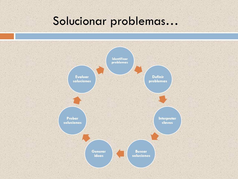 Solucionar problemas… Identificar problemas Definir problemas Interpretar claves Buscar soluciones Generar ideas Probar soluciones Evaluar soluciones