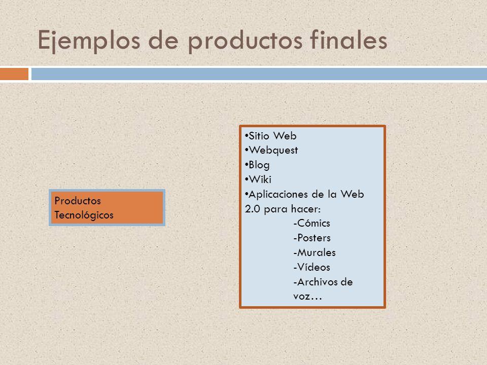 Ejemplos de productos finales Productos Tecnológicos Sitio Web Webquest Blog Wiki Aplicaciones de la Web 2.0 para hacer: -Cómics -Posters -Murales -Ví
