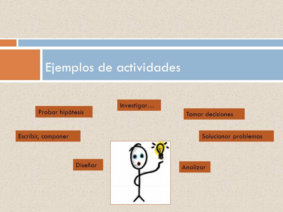 Ejemplos de actividades Investigar… Probar hipótesis Diseñar Analizar Solucionar problemasEscribir, componer Tomar decisiones