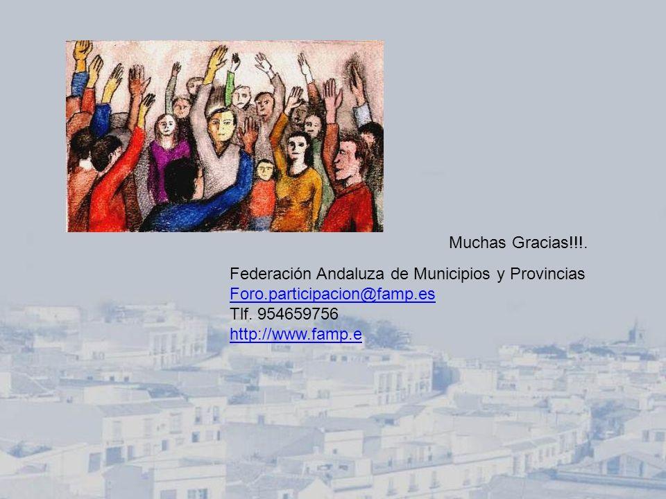 Muchas Gracias!!!. Federación Andaluza de Municipios y Provincias Foro.participacion@famp.es Tlf. 954659756 http://www.famp.e