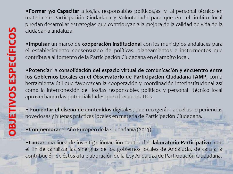 L1 L1 L1: FORMACIÓN/CAPACITACIÓN EN MATERIA PARTICIPACIÓN CIUDADANA L 2 L 2L 2 L 2: TICs Y PARTICIPACIÓN CIUDADANA L 3 Y L4 L 3 Y L4L 3 Y L4 L 3 Y L4: DINAMIZACION DE LOS ORGANOS DE PARTICIPACIÓN EN EL AMBITO LOCAL (TRABAJO EN RED) LÍNEA ESTRATÉGICAS ESTRATEGICAS