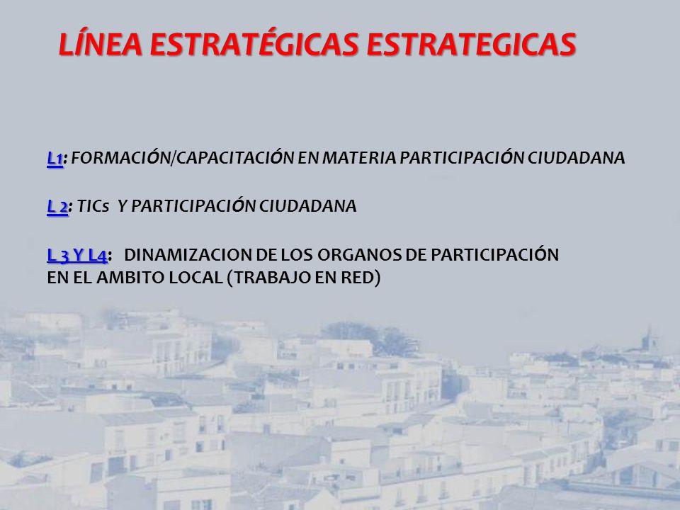 LINEA ESTRATÉGICA 1 LINEA ESTRATÉGICA 1: FORMACIÓN/CAPACITACIÓN EN MATERIA PARTICIPACIÓN CIUDADANA Previstos dentro del PLAN DE FORMACIÓN CONTINUA 2013 (FAMP): PARTICIPACION CIUDADANA PRESENCIALES II Encuentro Andaluz: Hablemos de Europa desde lo local (Conmemoración del Año Europeo de la Ciudadanía) Jornada de Trabajo: Contribuciones desde la Administración Local al Borrador de la Ley de Participación Ciudadana de Andalucía.