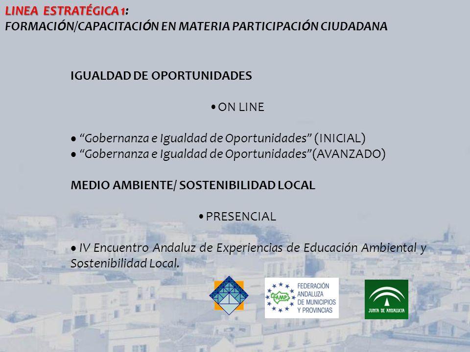 IGUALDAD DE OPORTUNIDADES ON LINE Gobernanza e Igualdad de Oportunidades (INICIAL) Gobernanza e Igualdad de Oportunidades(AVANZADO) MEDIO AMBIENTE/ SO