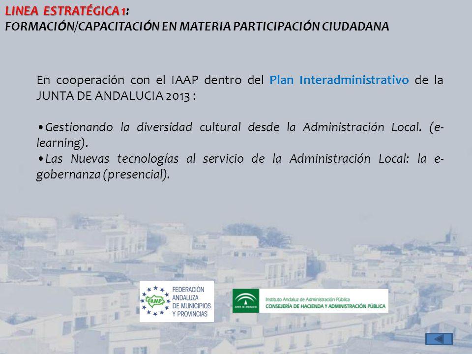 LÍNEA ESTRATEGICA 2 LÍNEA ESTRATEGICA 2: TICs Y PARTICIPACIÓN CIUDADANA FORTALECIMIENTO DEL BANCO DE BUENAS PRÁCTICAS (* )Buenas Prácticas Buenas PrácticasBuenas Prácticas de PC 2013 (**)Informes de Transferibilidad y Aplicabilidad de Buenas Prácticas http://www.famp.es/racs/observatorio/bancoexp.php