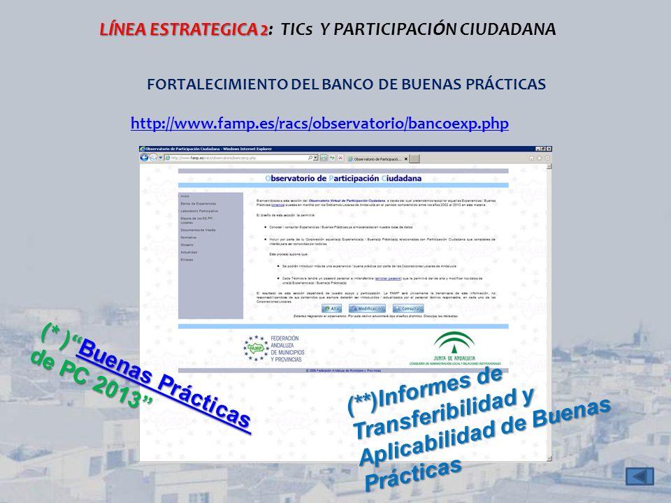 LÍNEA ESTRATEGICA 2 LÍNEA ESTRATEGICA 2: TICs Y PARTICIPACIÓN CIUDADANA FORTALECIMIENTO DEL BANCO DE BUENAS PRÁCTICAS (* )Buenas Prácticas Buenas Prác