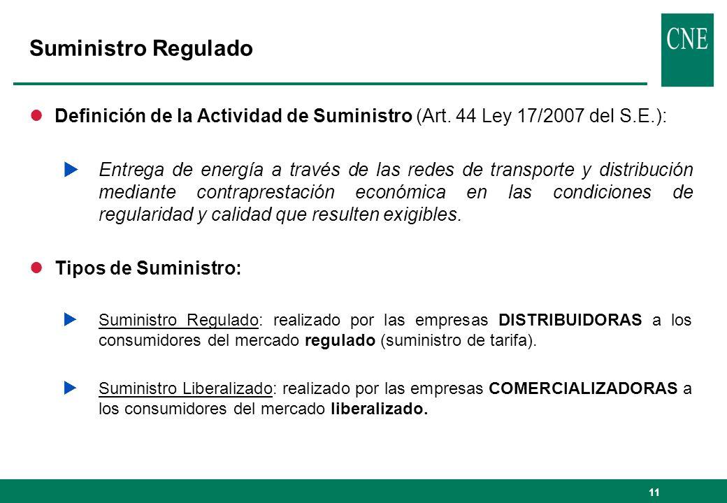 11 Suministro Regulado lDefinición de la Actividad de Suministro (Art. 44 Ley 17/2007 del S.E.): Entrega de energía a través de las redes de transport
