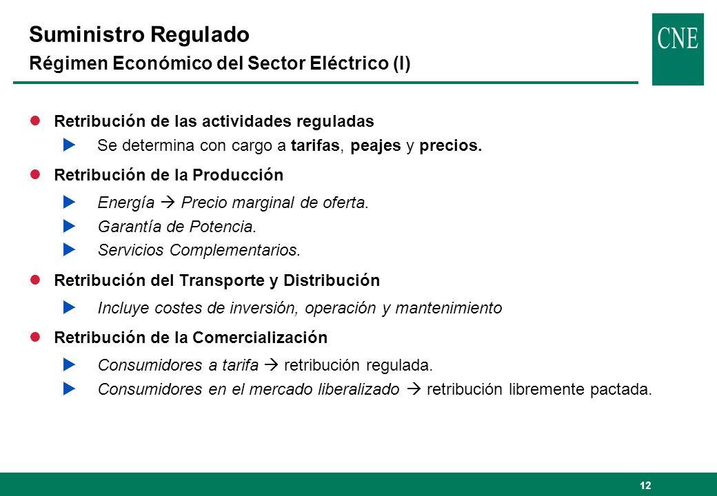 12 Suministro Regulado Régimen Económico del Sector Eléctrico (I) lRetribución de las actividades reguladas Se determina con cargo a tarifas, peajes y