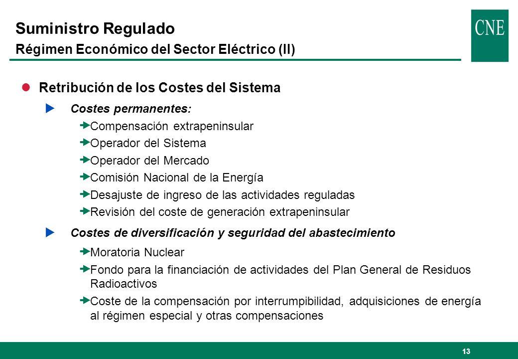 13 Suministro Regulado Régimen Económico del Sector Eléctrico (II) lRetribución de los Costes del Sistema Costes permanentes: Compensación extrapenins
