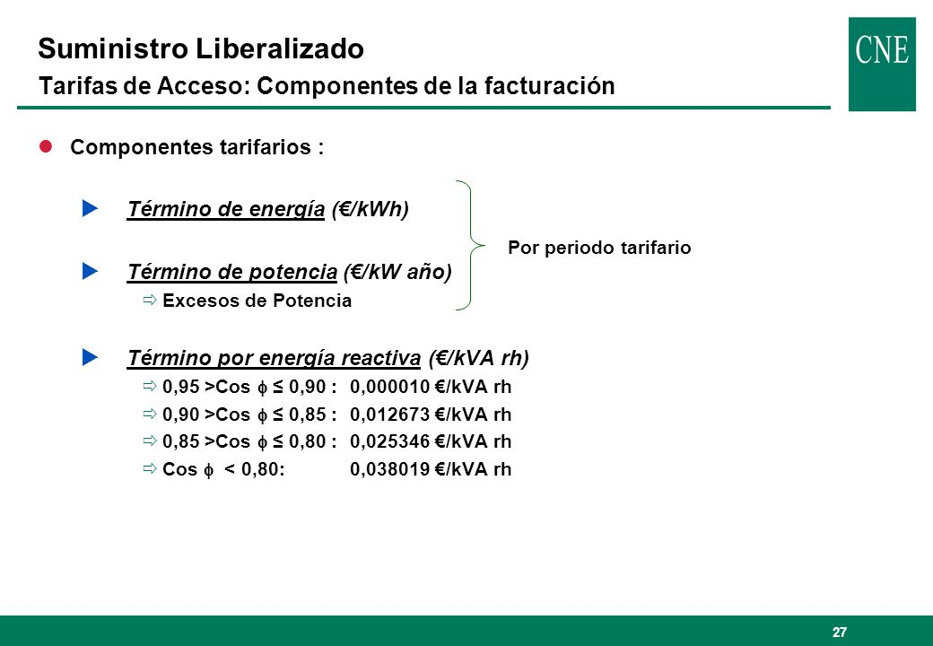 27 Suministro Liberalizado Tarifas de Acceso: Componentes de la facturación lComponentes tarifarios : Término de energía (/kWh) Término de potencia (/